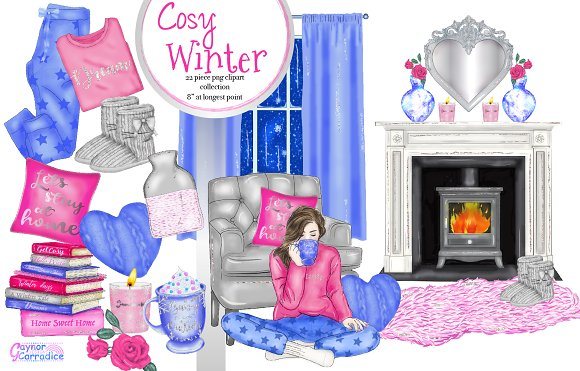 Cosy winter collection in Illustrations