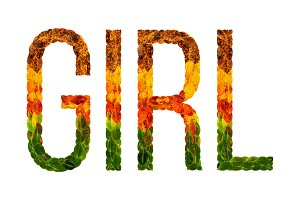 word girlwritten with leaves white isolated background, banner for printing, creative illustration of colored leaves.