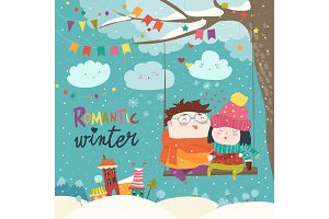 cute winter cartoon couple swinging
