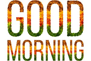 word good morning written with leaves white isolated background, banner for printing, creative illustration of colored leaves.