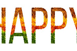 word happy written with leaves white isolated background, banner for printing, creative illustration of colored leaves.