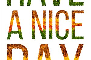 word have a nice day written with leaves white isolated background, banner for printing, creative illustration of colored leaves.