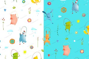 Animals Jump Rope Seamless Pattern