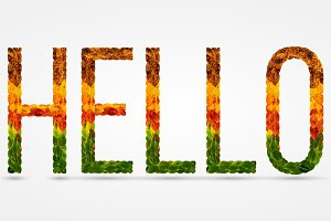 word hello written with leaves white isolated background, banner for printing, creative illustration of colored leaves.
