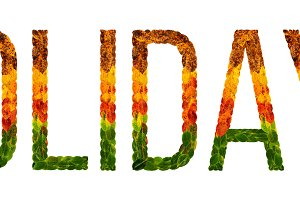 word holidays written with leaves white isolated background, banner for printing, creative illustration of colored leaves.