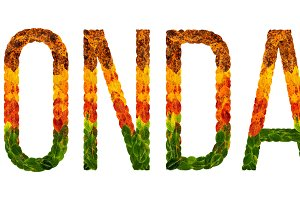 word monday written with leaves white isolated background, banner for printing, creative illustration of colored leaves.