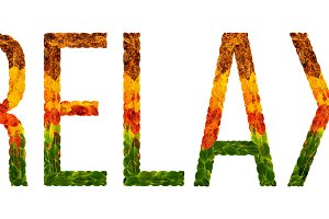 word relax written with leaves white isolated background, banner for printing, creative illustration of colored leaves.