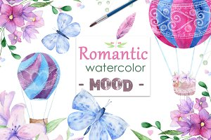 Romantic mood Watercolor Love