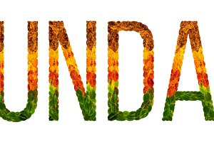 word sunday written with leaves white isolated background, banner for printing, creative illustration of colored leaves.