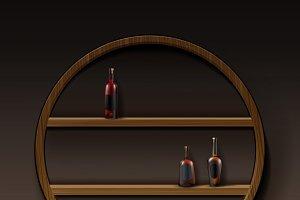 Brown round wooden shelves