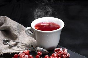 hot tea from red viburnum
