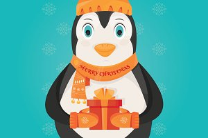 illustration of Christmas penguin