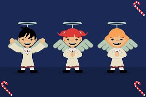 Children dressed as angels.Christmas