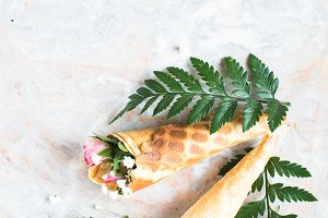 Flowers in a waffle cone