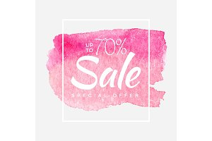 Sale final up to 70% off sign over art brush acrylic stroke paint abstract texture background poster vector illustration. Perfect watercolor design for a shop and sale banners