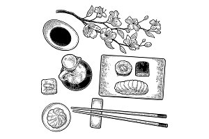 Set Sushi. Vintage black vector engraving
