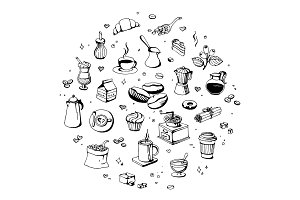 Doodle coffee shop icons. Vector outline coffee and tea drawings for cafe menu