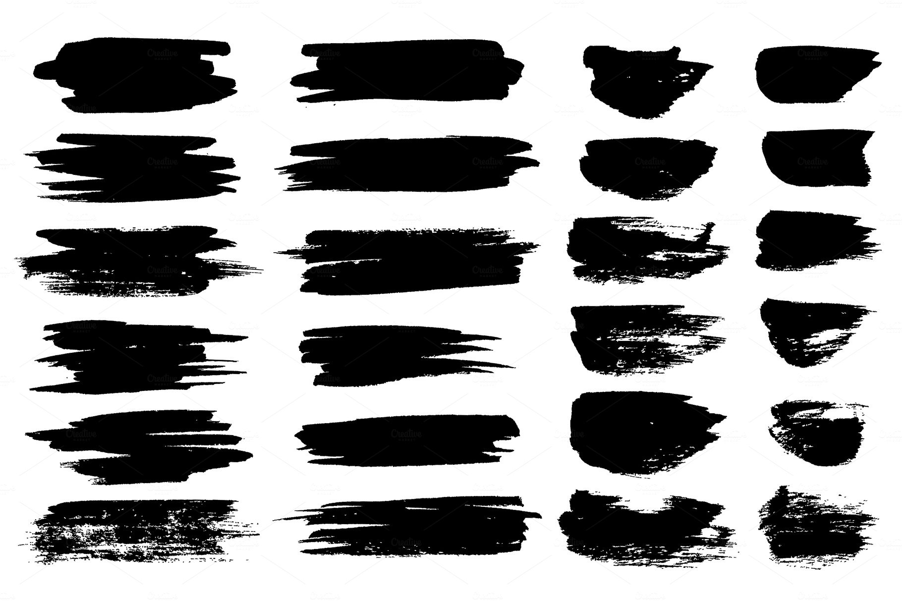 Line Texture Paint : Vector black paint brush spots highlighter lines or felt