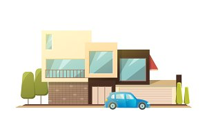 Modern house, real estate sign in flat style. Vector illustration