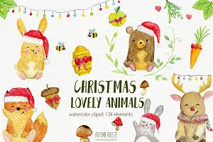watercolor Christmas animals
