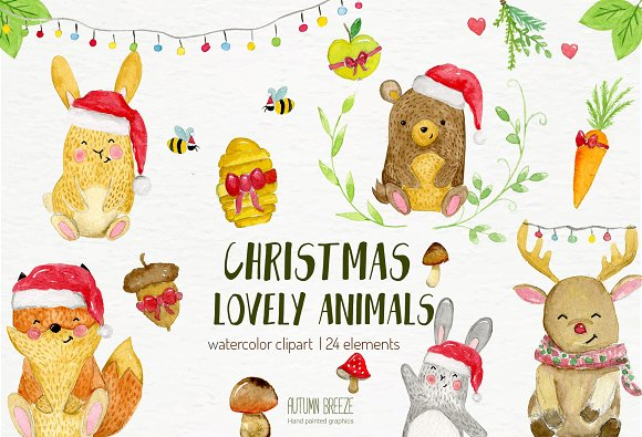watercolor Christmas animal-Graphicriver中文最全的素材分享平台