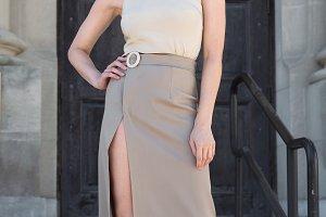 female grey wrap tulip skirt blouse