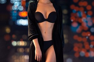 sexy woman wearing black lingerie