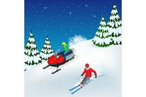 Man driving sports snowmobile and skier. Isometric vector illustration