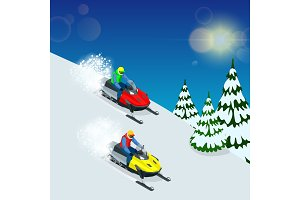 Man driving sports snowmobile. man and fast action snowmobile jumping. Isometric vector illustration