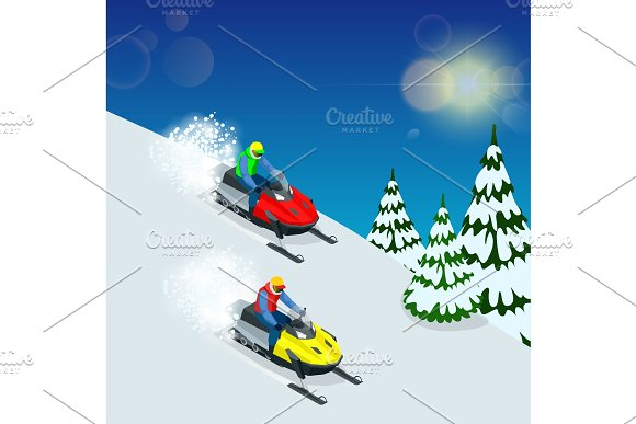 Man Driving Sports Snowmobile Man And Fast Action Snowmobile Jumping Isometric Vector Illustration