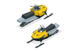 Snowmobiles set isolated on white background. Isometric vector illustration