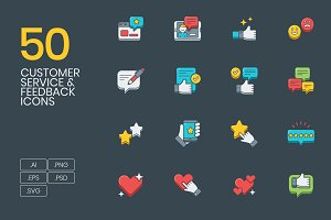 50 Customer Service & Feedback Icons