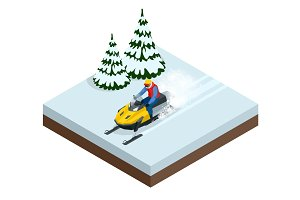 Man driving sports snowmobile in a sunny day. Isometric vector illustration
