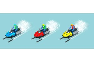 Man driving sports snowmobile set. Isometric vector illustration