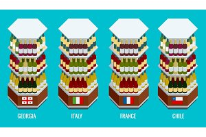 Isometric wine bottles stacked on wooden racks Georgia, Italy, France, Chile. Vector illustration isolated on white background