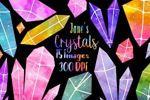 Watercolor Crystals Clipart
