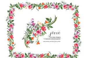 Watercolor Floral Frame Set