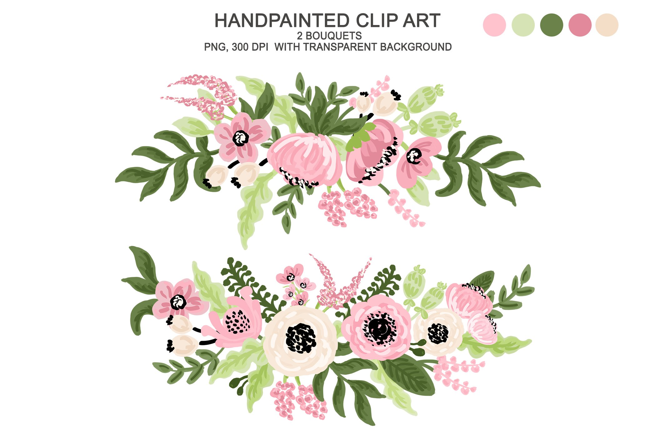 Digital Watercolor Flower Clipart ~ Illustrations ...