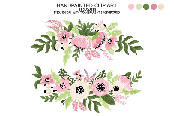 Digital Watercolor Flower Clipart Illustrations Creative Market