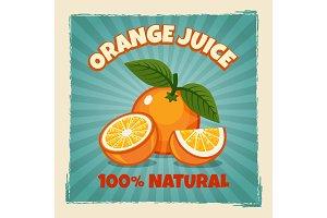 Orange fruit vintage poster
