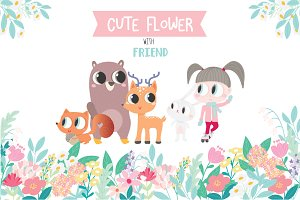 CUTE Flower with Animals desingSet