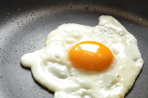 Fried egg on a Black pan