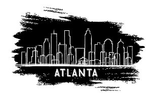 Atlanta USA Skyline Silhouette.