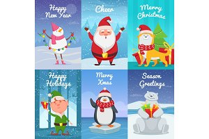 Cute christmas cards with funny characters. Vector pictures in cartoon style
