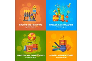 Pyrotechnics elements for party. Vector banners set