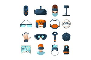 Different symbols of virtual reality. Electronic and computer technology of future. Vector icons set in cartoon style