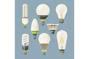 Incandescent bulbs, halogen and other different types. Vector pictures in cartoon style