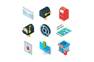 Diffrent postal symbols. Isometric pictures of mailbox, latters and email sign