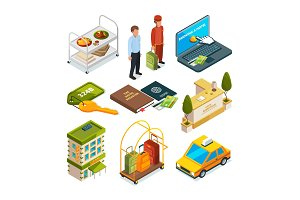 Hotel reception, isometric set of motel services illustrations
