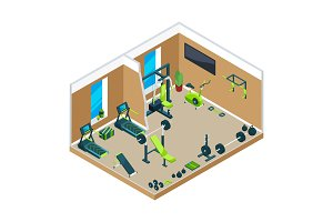 3D isometric illustrations of gym with different sport equipment for powerlifting and bodybuilding